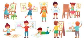 Bambini del disegno Illustratore del bambino, gioco di disegno del bambino ed illustrazione di vettore del fumetto del gruppo dei illustrazione di stock