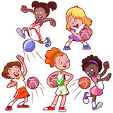 Bambini del fumetto che giocano dodgeball Fotografia Stock
