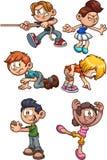 Bambini del fumetto che realizzano le azioni differenti illustrazione vettoriale