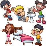Bambini del fumetto che realizzano le azioni differenti royalty illustrazione gratis