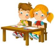Bambini del fumetto che si siedono - imparando - illustrazione per i bambini XXL Fotografia Stock Libera da Diritti