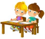 Bambini del fumetto che si siedono - imparando - illustrazione per i bambini XXL Fotografia Stock