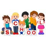 Bambini del fumetto con il segno in bianco Fotografia Stock Libera da Diritti