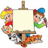 Bambini del fumetto con la tela di canapa di pittura Immagine Stock