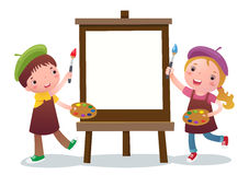 Bambini del fumetto con la tela di canapa di pittura Immagini Stock