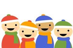 Bambini del fumetto di inverno illustrazione di stock