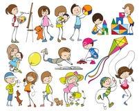 Bambini del fumetto messi illustrazione di stock