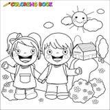 Bambini del libro da colorare alla scuola Fotografie Stock Libere da Diritti