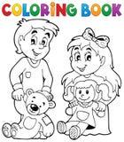 Bambini del libro da colorare con i giocattoli 1 Fotografie Stock Libere da Diritti