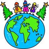 Bambini del mondo di natale illustrazione vettoriale