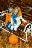 Bambini del parco di autunno Immagini Stock Libere da Diritti