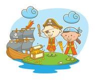 Bambini del pirata che trovano tesoro Fotografie Stock Libere da Diritti