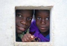 Bambini del Surinam, al banco Fotografia Stock Libera da Diritti