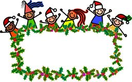 Bambini dell'insegna di Natale Immagini Stock