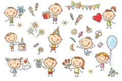 Bambini della festa di compleanno messi illustrazione di stock