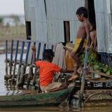 Bambini della linfa di Tonle, Cambogia Fotografia Stock Libera da Diritti