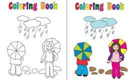 Bambini della pioggia del libro da colorare Fotografia Stock Libera da Diritti