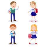 Bambini della scuola con gli zainhi ed i libri I ragazzi e le ragazze felici vanno a scuola Immagini Stock Libere da Diritti