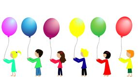 Bambini della scuola con i palloni colourful royalty illustrazione gratis