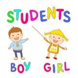 Bambini della scuola - ragazzo e ragazza svegli Fotografia Stock Libera da Diritti