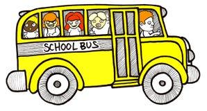 Bambini dello scuolabus Immagini Stock Libere da Diritti