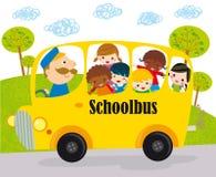 Bambini dello scuolabus Immagini Stock
