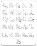 Bambini di ABC degli animali del bambino di alfabeto che colorano pagina Fotografie Stock Libere da Diritti