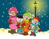 Bambini di Caroling Fotografia Stock