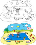 Bambini di coloritura alla piscina Fotografie Stock Libere da Diritti