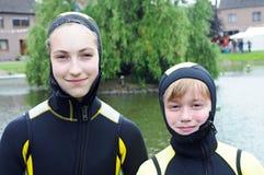 Bambini di immersione subacquea fotografia stock