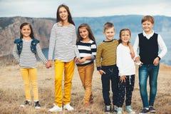 Bambini di modo nel campo di autunno Fotografia Stock Libera da Diritti