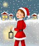 Bambini di natale del Babbo Natale dei bambini del bambino di natale e del nuovo anno, nuovo anno, cartolina, cartolina d'auguri, illustrazione vettoriale