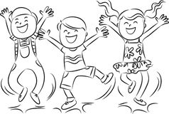 Bambini di salto felici Fotografie Stock Libere da Diritti