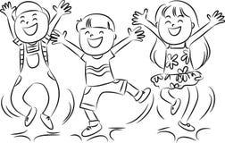 Bambini di salto felici Immagini Stock Libere da Diritti
