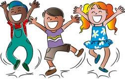 Bambini di salto felici del fumetto Immagini Stock
