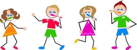 Bambini di spazzolatura dei denti Immagini Stock