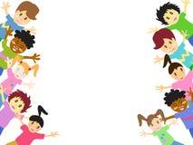 Bambini dietro con lo spazio della copia Fotografia Stock
