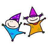 Bambini disegnati a mano del fumetto che giocano la festa di compleanno Fotografia Stock