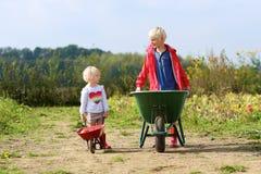Bambini divertendosi sul giacimento della zucca Fotografie Stock Libere da Diritti