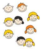 Bambini e bambino disegnati a mano felici di vettore Fotografia Stock