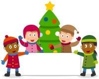 Bambini e bandiera di inverno Immagini Stock