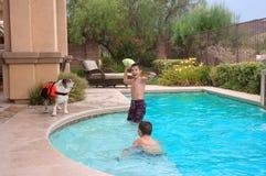 Bambini e cani Immagini Stock Libere da Diritti
