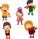Bambini e contenitore di regalo Immagine Stock