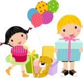 Bambini e contenitore di regalo Immagini Stock
