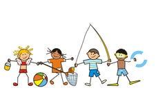 Bambini e divertimento dell'acqua Fotografia Stock Libera da Diritti
