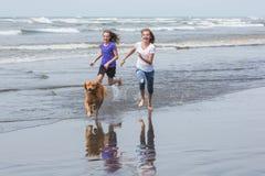 Bambini e funzionamento del cane alla spiaggia Fotografia Stock Libera da Diritti