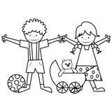 Bambini e giocattoli - libro da colorare Fotografie Stock