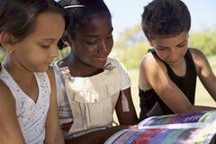 Bambini e libro di lettura di istruzione, dei bambini e delle ragazze in parco Fotografia Stock Libera da Diritti