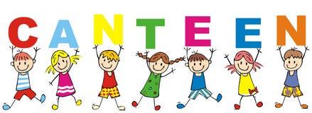 Bambini e mensa felici, illustrazione di vettore, insegna illustrazione vettoriale