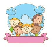 Bambini e nastro in bianco Fotografia Stock